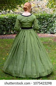 Victorian woman in green dress