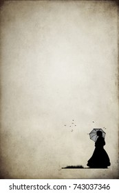 Victorian woman in silhouette