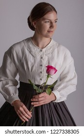 Victorian woman in white blouse