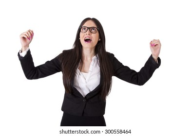 Victorious business woman