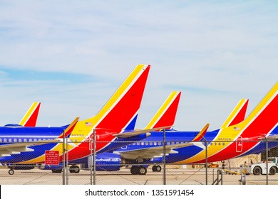 Victorville, CA / USA – March 27, 2017: Southwest Airlines is storing their fleet of Boeing 737 Max at the Southern California Logistics Airport in Victorville, CA, due to orders from the FAA.
