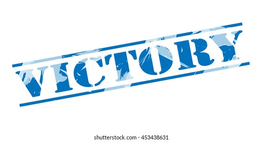 victory blue stamp on white background