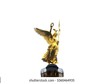 Victory Column in Berlin on white background
