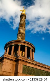 The Victory column, a monument in Berlin, Germany, in 2007 before renovation at sunset