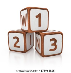 victory concept of wooden blocks. 3d illustration isolated on white background