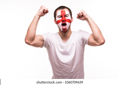Victory, happy and goal scream emotions of british football fan in game support of England national team on white