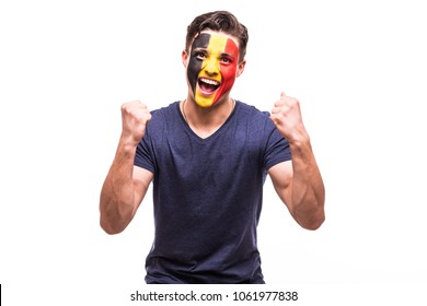 Victory, happy and goal scream emotions of Belgian football fan in game support of Belgium national team on white