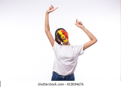 Victory, happy and goal scream emotions of Belgian football fan in game support of Belgium national team on white background. European football fans concept.
