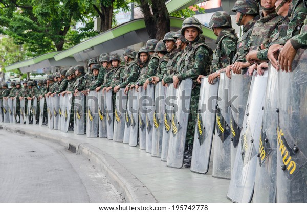 Victory monument ,Bangkok ,Thailand - May 30 ,2014. Thai Army prepare their defensive line for anti riot after Thai Royal Army coup d'etat on May 23,2014 in Bangkok ,Thailand.