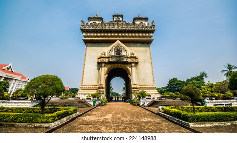 Victory monument in Vientiane, Laos. The Patuxai is dedicated to those who fought in the struggle for independence from France.