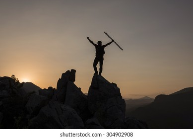 victory at the peak of happiness