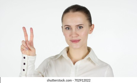 Victory Sign by Woman, White Background