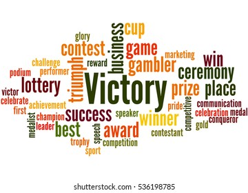 Victory, word cloud concept on white background.