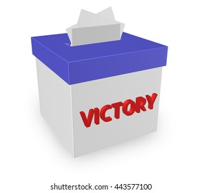 "victory words on a box isolated on white background. ""3d illustration"""