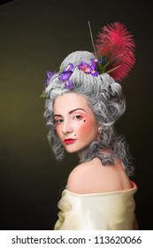 Victotorian lady. Young woman in eighteenth century image.