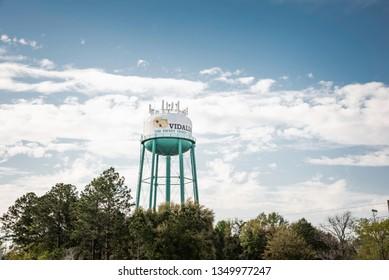 Vidalia, Georgia / USA - March 25, 2019: The water tank tower of the city of Vidalia located at 1st Avenue in Vidalia, Georgia 30474, USA.