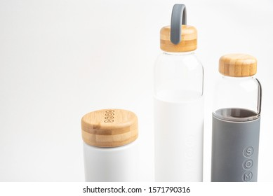 Vidalia, Georgia / USA - September 22, 2019: A studio product shot of three reusable water and beverage bottles in different sizes set on white background.