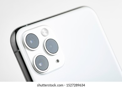 Vidalia, Georgia / USA - September 27, 2019: A studio product shot of Apple's iPhone 11 Pro Max mobile phone in silver set on white background.