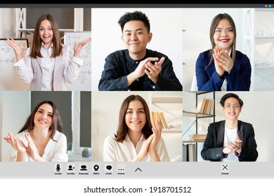 Video call. Distance learning. Business webinar. Online education. Diverse multiethnic group of students greeting successful enthusiastic female coach applauding at digital class on screen.