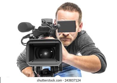 Video camera operator filmed. Isolated on white background.