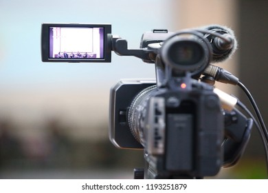 The video camera from the rear view.