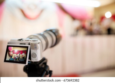 video camera  recording the great moment in wedding ceremony.  remember the best moment in the best day in your life concept.