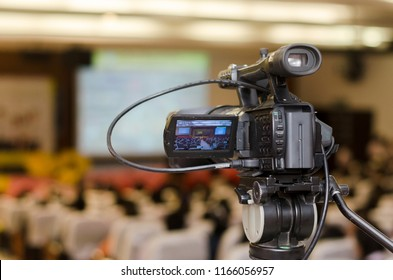 Video Camera recording seminar or learning in Conference room with blurred background, copy space