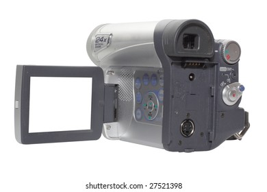 video camera under the white background