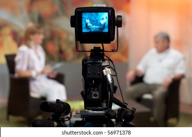 Video camera viewfinder - recording show in TV studio