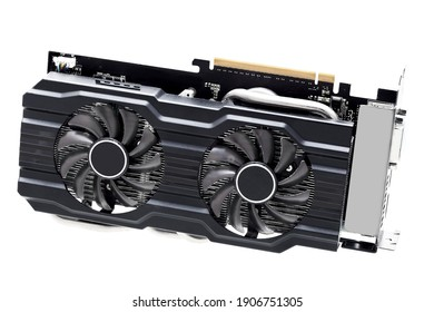 video card with heatsink and coolers for cooling computer device component design in black with pci connector graphic gpu isolated on white background.