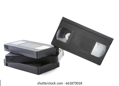 Video cassette tapes isolated on white background