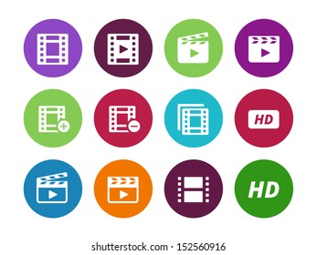 Video circle icons on white background. See also vector version.