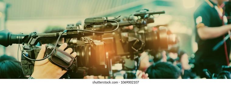 Video camera,videographer close up, cameraman, movie