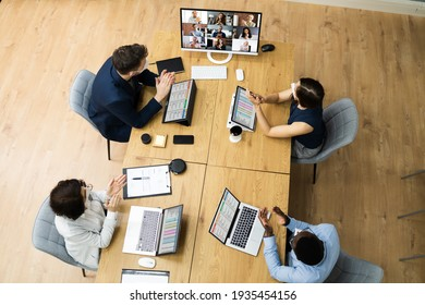 Video Conference Call At Business Meeting. Group Conferencing