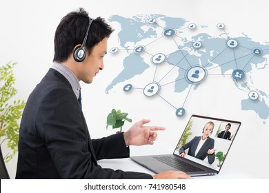 Video conference concept.