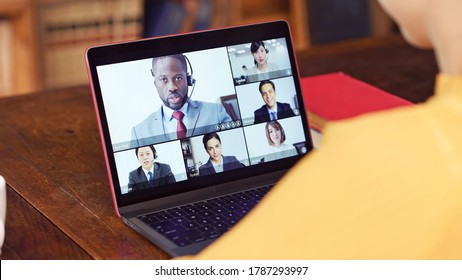 Video conference concept. Telemeeting. Videophone. Teleconference. - Shutterstock ID 1787293997