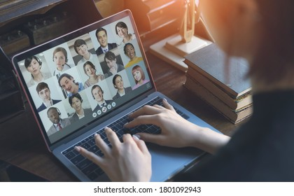 Video conference concept. Telemeeting. Videophone. Teleconference. Remote work.