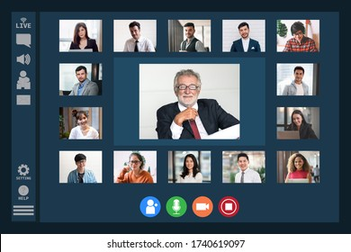 Video Conference Facetime Screen Monitor Meeting of Multiethnic Business People Chatting Live Streaming on Social Networking with Coporate Colleagues - Online Working or Technology Concept