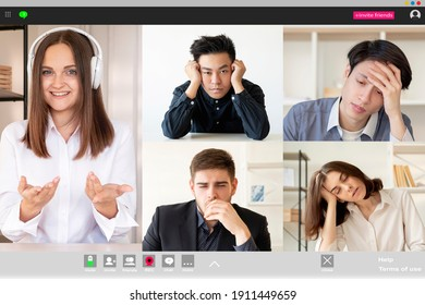 Video conference. Group call. Corporate webinar. Online communication. Exhausted bored diverse multiethnic students fell asleep listening to female coach in headphones at digital class on screen.