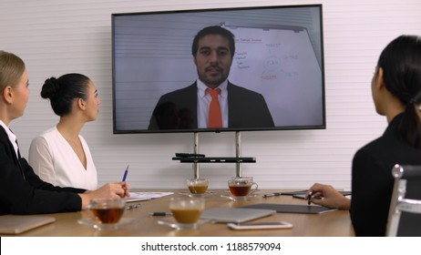 Video Conference in meeting room.