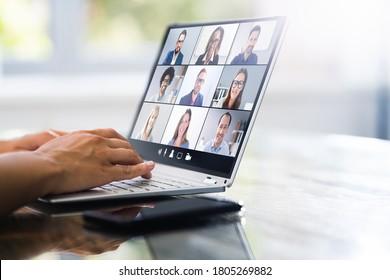 Video Conference Webinar Call. Online Work Meeting - Shutterstock ID 1805269882