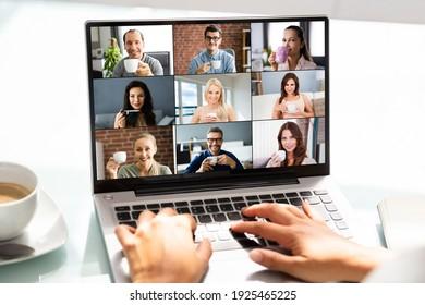 Video Conference Webinar Virtual Call And Coffee Break