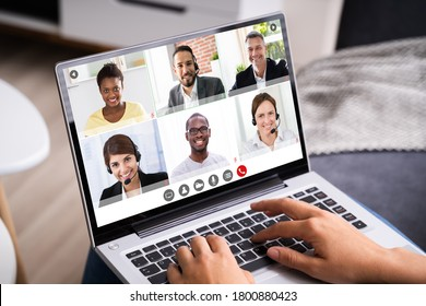 Video Conferencing Business Meeting Chat. Videoconference Elearning Webinar - Shutterstock ID 1800880423