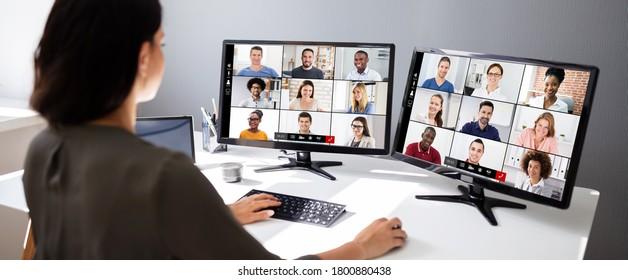 Vidéo-Conférences Téléphonez À Une Réunion Professionnelle Sur Ordinateur