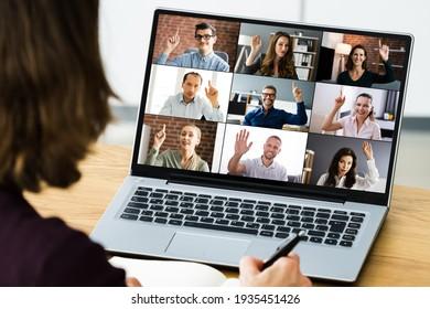 Video-Konferenzen Anruf-Wave mit Hand