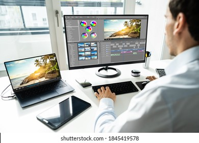 Video Editor Using Montage Software For Editing On Computer