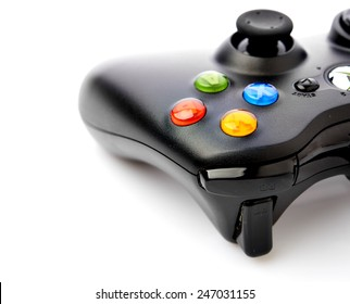 Video game controller for console or computer pc isolated on white background.