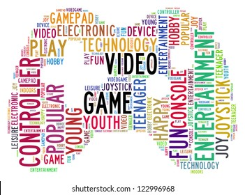video game info-text graphics and arrangement concept (word cloud) in white background