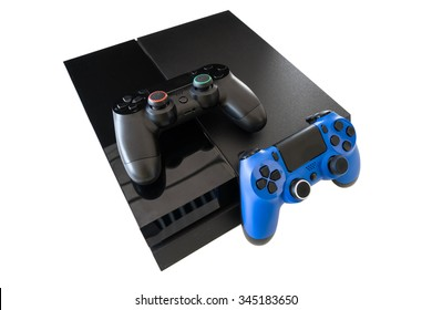 video game and wireless controller isolated on white background