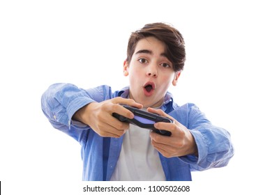 video games, portrait of young with video game joystick